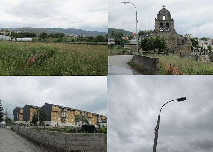 A montage of green fields, old church, 4 storey apartments and a concrete lampost