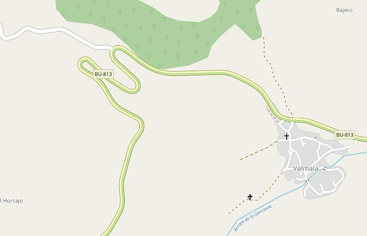A map showing the section of the BU-813 in Norther Spain. Very twist and curved