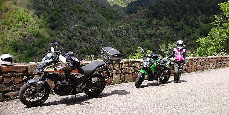 A CB500X and Z250SL on the side of a lush green hill in Northern Spain