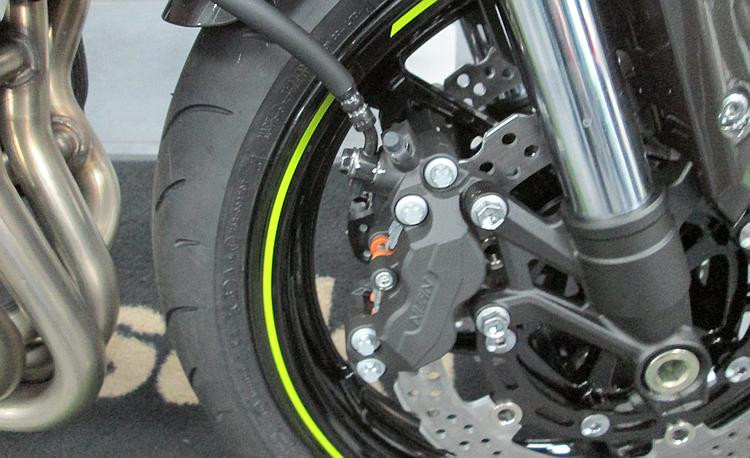 A big powerful Nissin brake on a modern motorcycle