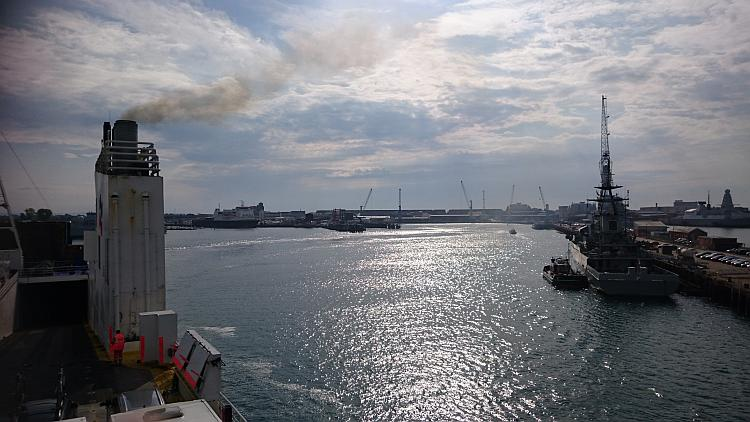Portsmouth harbour is seen from the ship as we sail away from England's shores