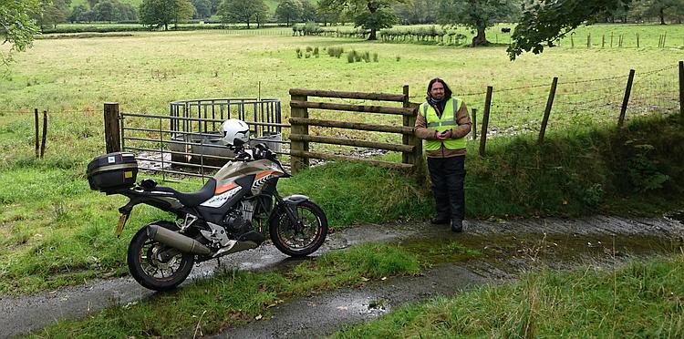 Ren and his CB500X in the countryside of South Wales