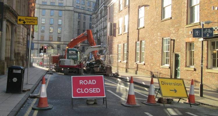 Roadworks in Manchester city centre