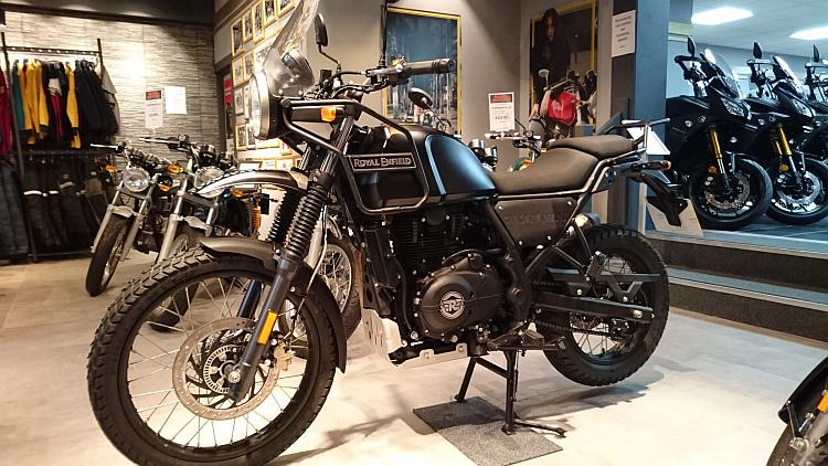 The Royal Enfield Himalayan in a motorcycle Showroom
