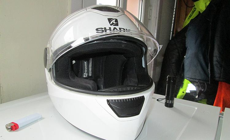The Shark Skwal helmet with the new visor in situ