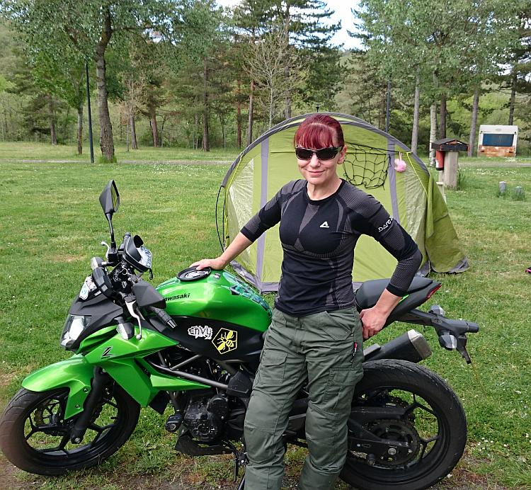 Sharon poses looking stylish in her motorcycling cargo pants and shades