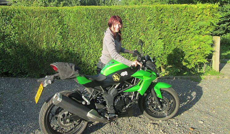 Sharon and her Kawasaki Z250SL called Envy