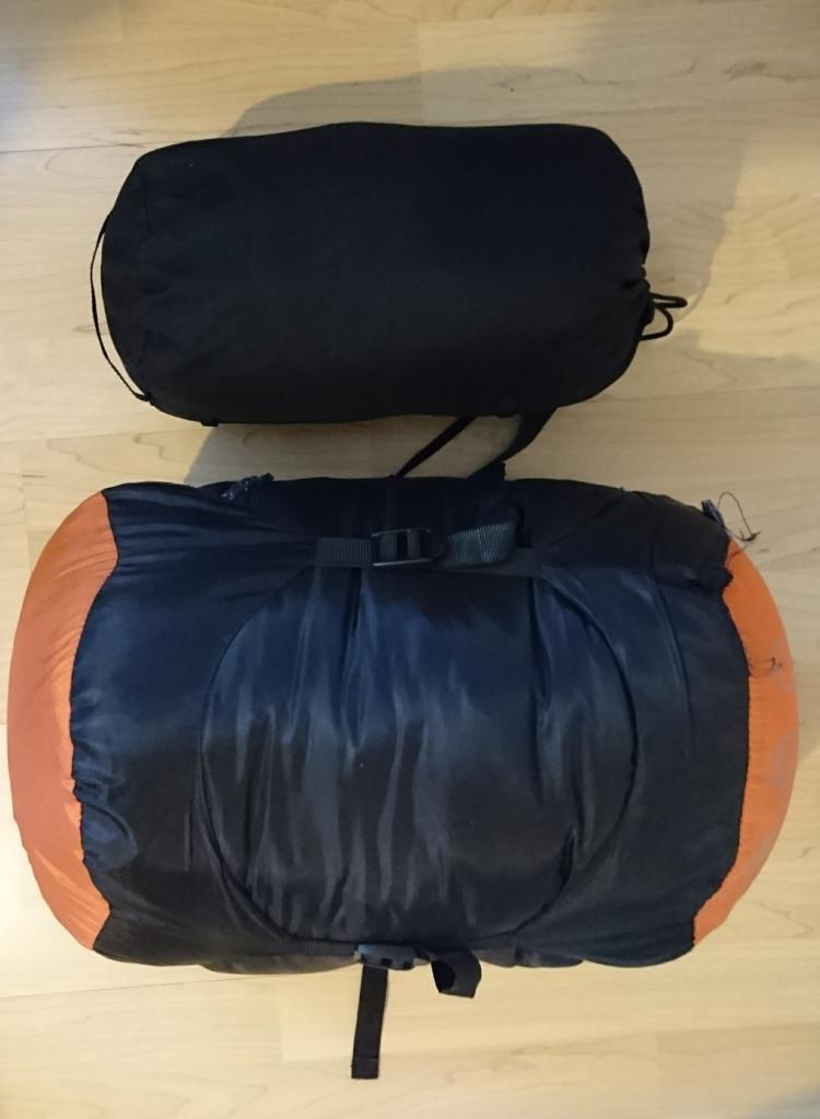 The large packed sleeping bag and the small packed sleeping bag liner