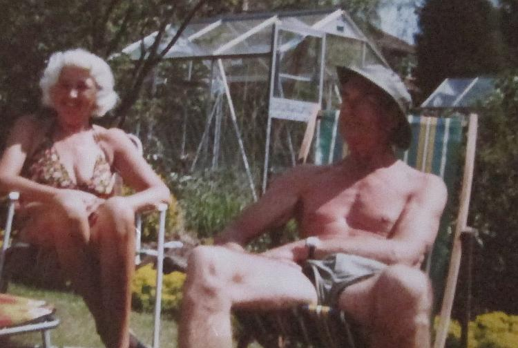2 elder people enjoying the sun. Ren's real Grandparents