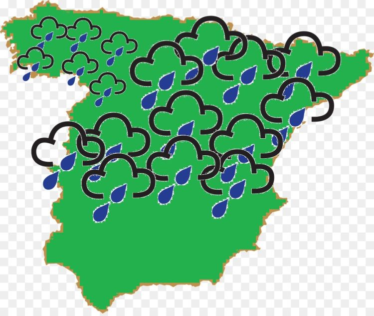 A basic simply map of spain with most of it covered in rain weather symbols