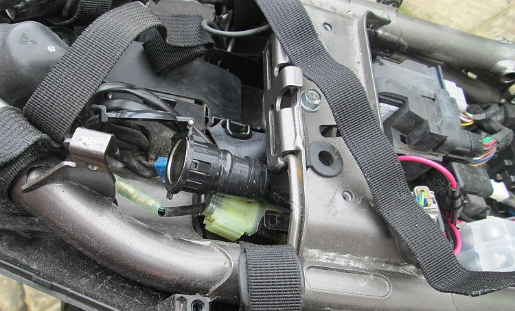 The 12v power or cigarette socket fitted to Sharon's Z250SL Kawasaki