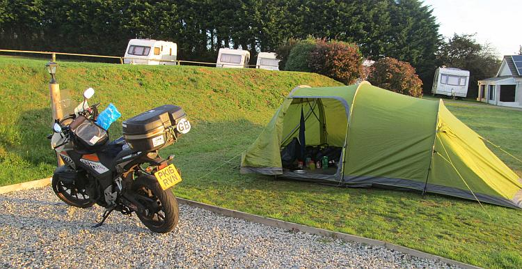 The 500 and the tent set up at the Doubletrees campsite near St Austell