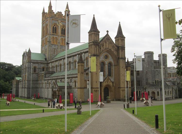 The crisp and fresh stonework of the exterior of Buckfast Abbey