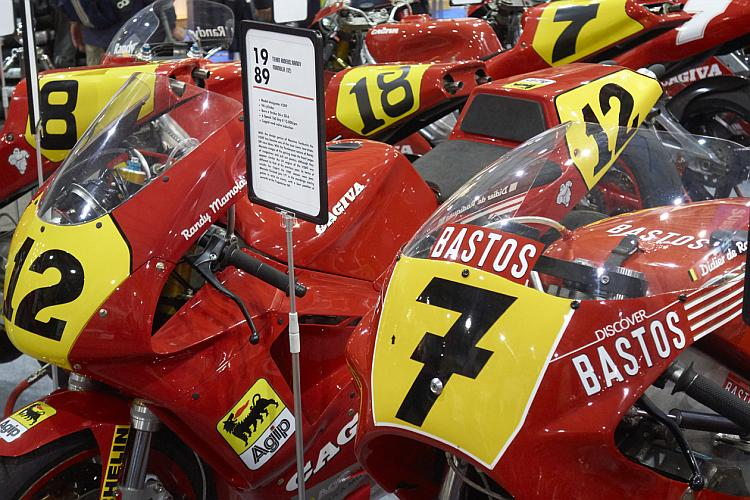 A collection of bright red Cagiva racing motorcycles