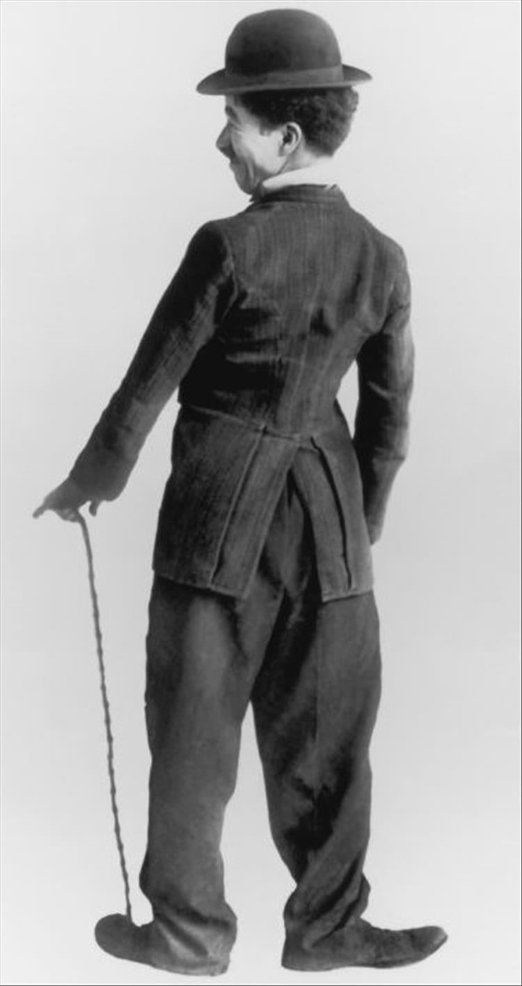 Charlie Chaplin seen from the rear