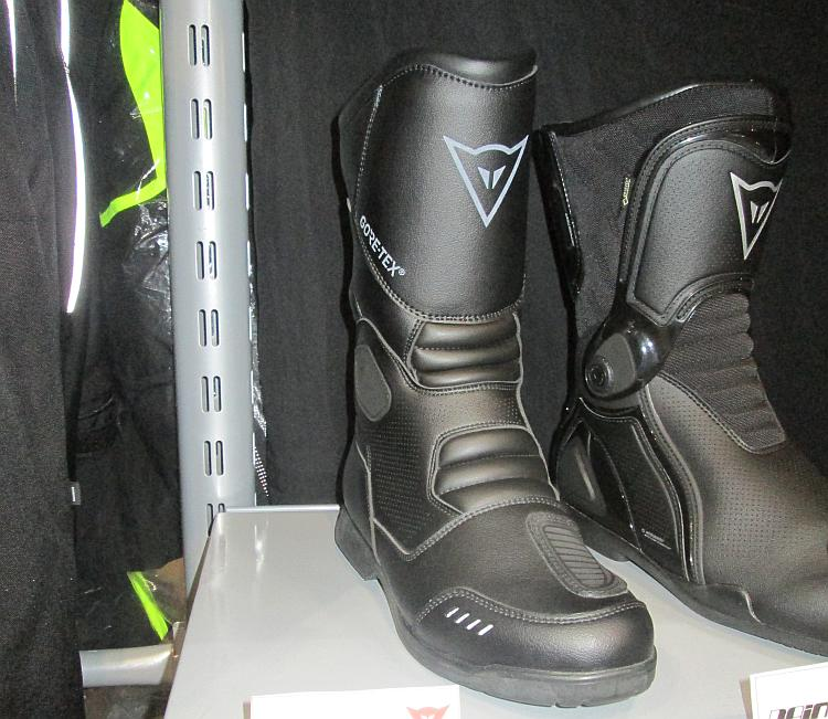 A pair of mid length motorcycle boots by Dainese with Goretex liners