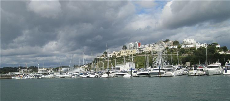 Rows of smart modern and flashy yachts in the marina at Torquay