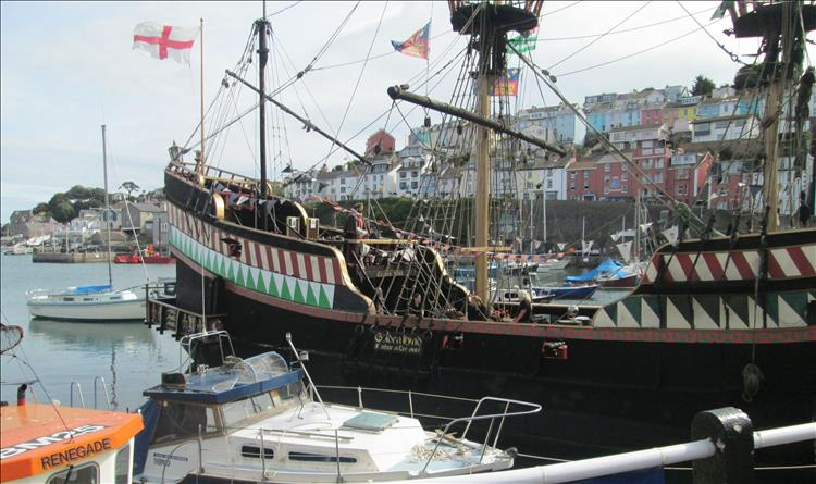 Brixham's pretend sailing vessel the golden hind