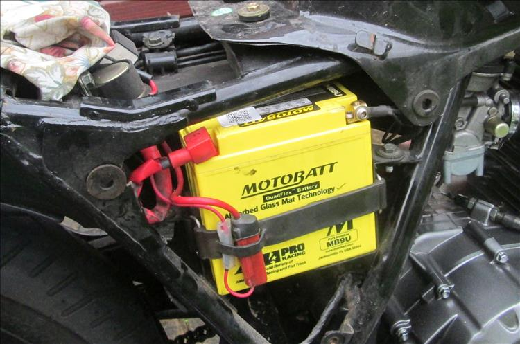 The Motobatt battery fitted to the Keeway RKS 125