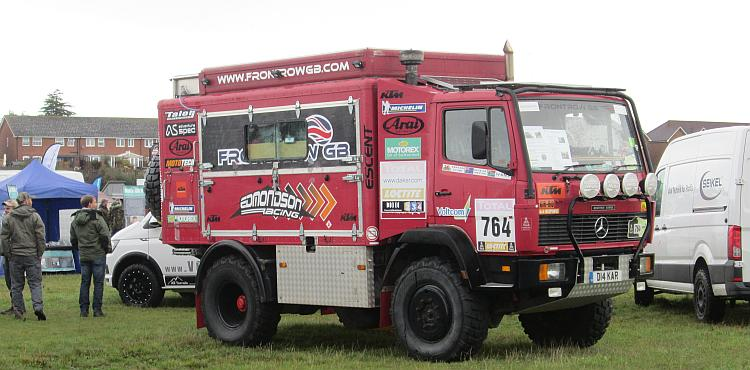 A Mercedes truck in the Dakar rally style