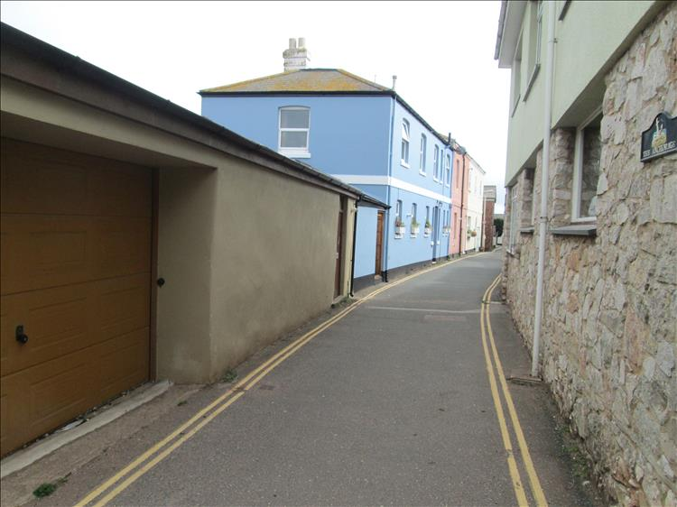 Odd houses and a narrow street in Shaldon