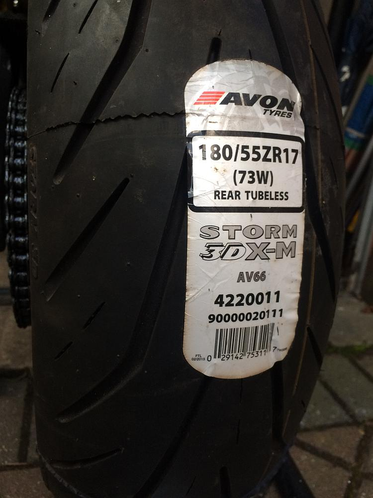 The fresh new Avon Storm motorcycle tyre is now on the wheel and back on the bike