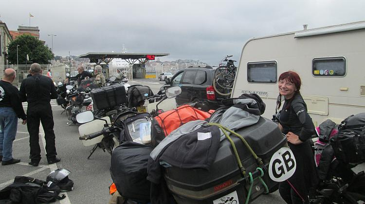 sharon is in the queue for the ferry with all the other bikers at Santander