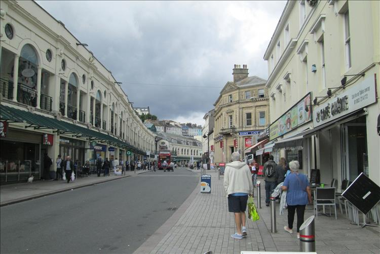 A long street of shop in Torquay