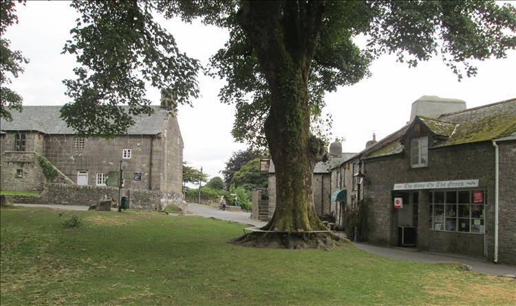 The stone building, a large tree and a grassed area make Widecombe in the moor a pretty vilalge
