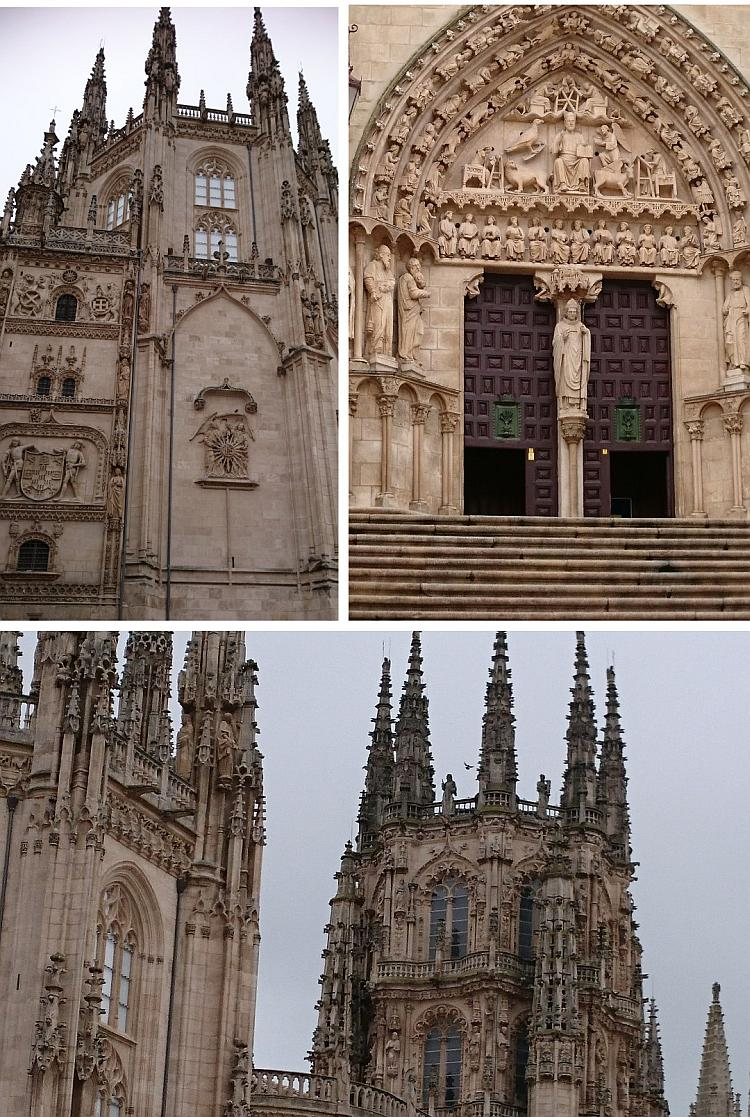 A collage of images showing the incredible detailed carving and stonework of Burgos Cathedral