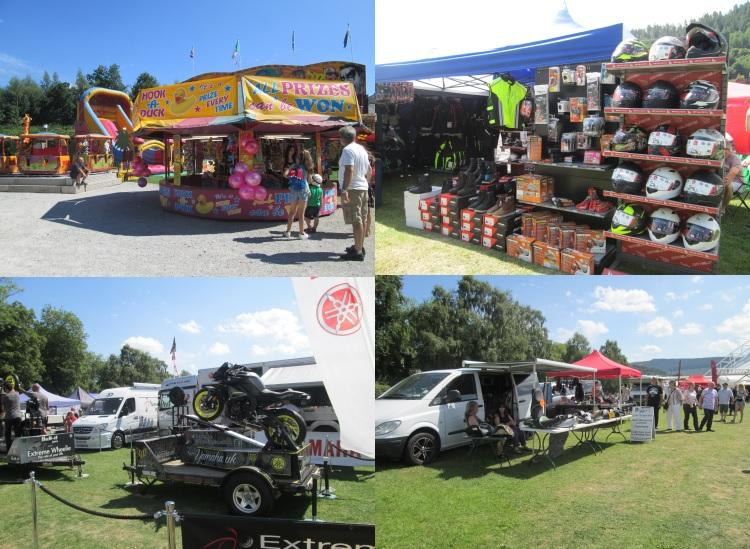 A collage of images of the stalls at the bike fest