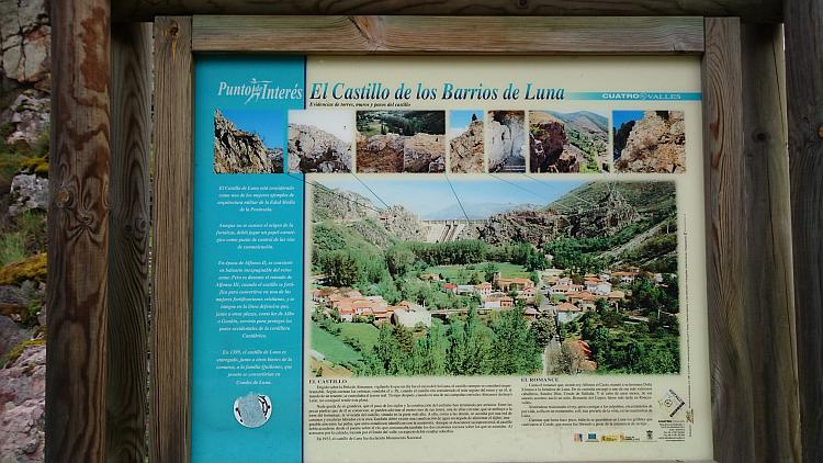 An information sign telling us about the damn and the village of Los Barrios De Luna