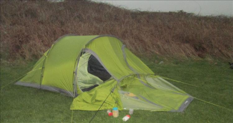 Ren's tunnel tent with one of the poles snapped and collapsed from the last trip to Wales