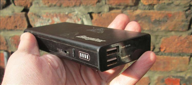 A power bank, essentially a small box with USB connectors to charge phones and the like