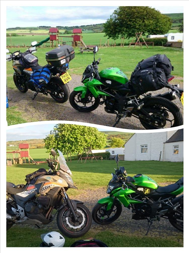 Collage of 2 pics. Same bikes, same campsite, 2 years inbetween