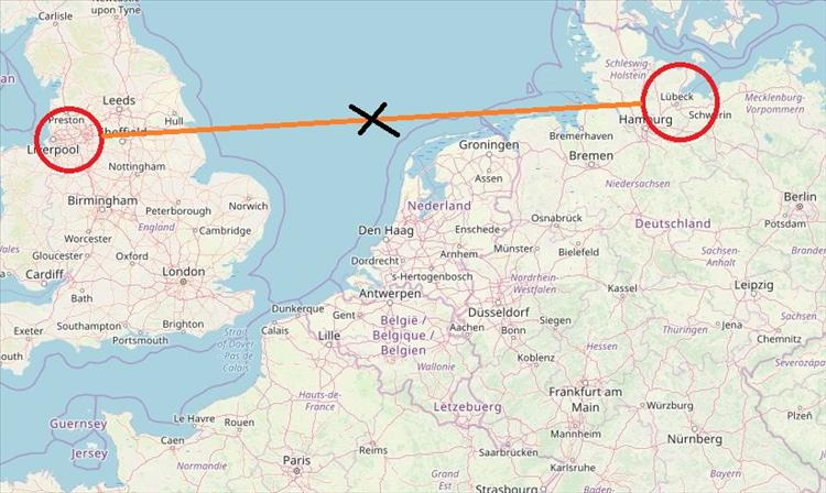 A map with Lubeck and Manchester circled, a line between them and a cross halfway, right in the middle of the ~North sea