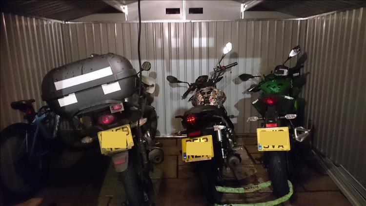 3 motorcycles with space to spare in the new shed