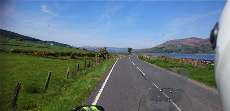 Rolling hills to one side, steeper moors to the other and a deep blue loch between on the island of bute