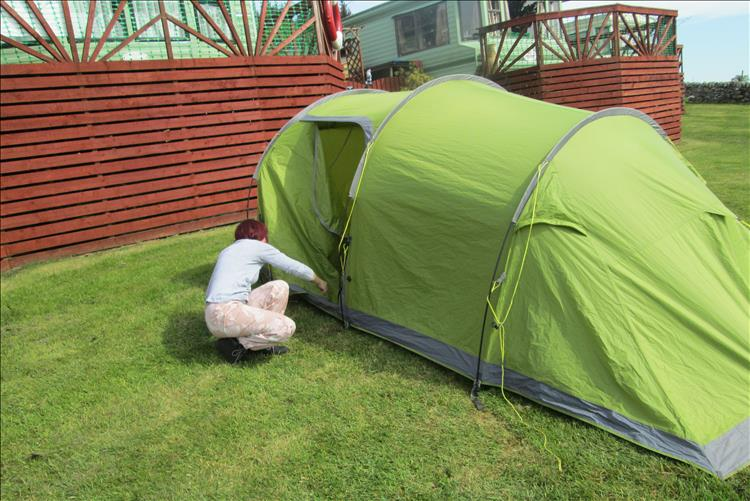 Sharon is messing with the tent at the campsite on The Isle Of Bute