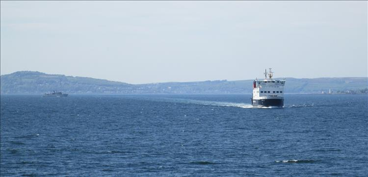 The ferry out between the mainland and Isle of Bute. Not large, not small, a medium sized ferry