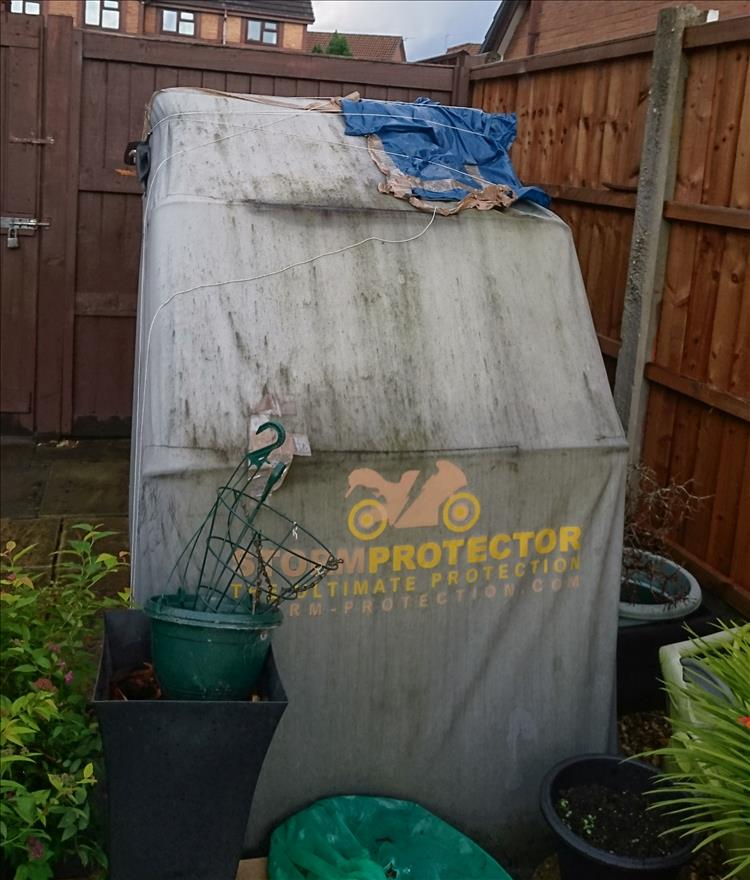 The StormProtector shelter is now mouldy, ripped, patched and ready for the bin