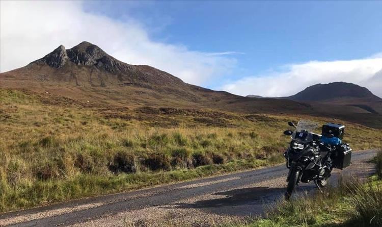 Andy's GS BMW in the remote scottish Highlands