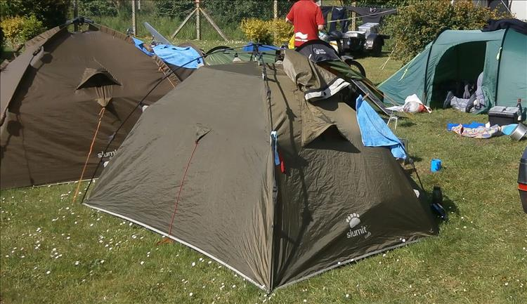 Bogger tent, the poles are on the outside with hinged joints for fast erection