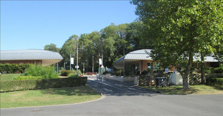 The smart buildings at the entrance to the campsite are all peaceful in the sun and daylight
