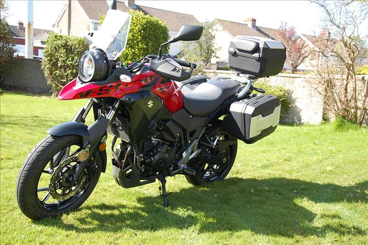 250 V-Strom with 3 piece hard cases fitted from the manufacturer