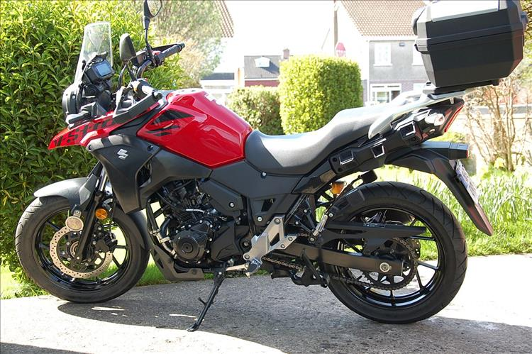 V-Strom 250 with original equipment top box fitted