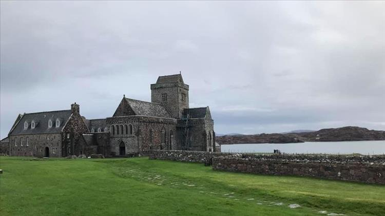 The Abbey at Iona, stone built and church-like in the remote setting