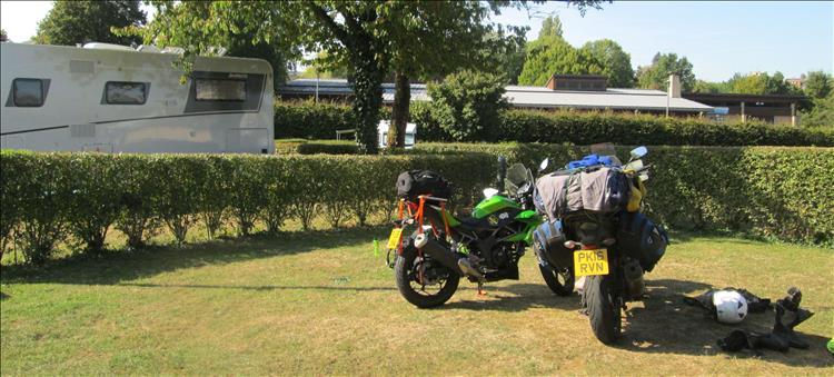 The 2 motorcycle loaded with the camping gear at the campsite in Charleville-Mézières