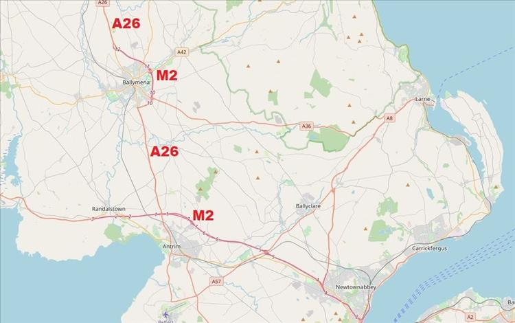 The main M2 is near Belfast with a stray remote section around Ballymena on this map