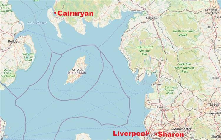 A map with Sharon's location near to Liverpool and Cairnryan is way way to the north
